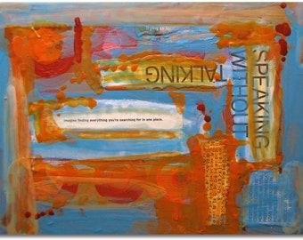"Original Art, Encaustic Collage, Abstract Expressionism : ""UnSilence"" by Erica Vitalia"
