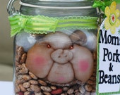 """Handmade """"Pork & Beans"""" Pig in a jar. With Yellow Butterfly Perfect Mothers Birthday Gift"""