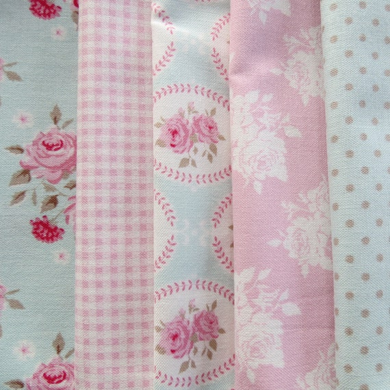 Pretty Tilda Fabric Bundle - Pink and Aqua - Smaller Pieces Perfect for Smaller Projects (M)