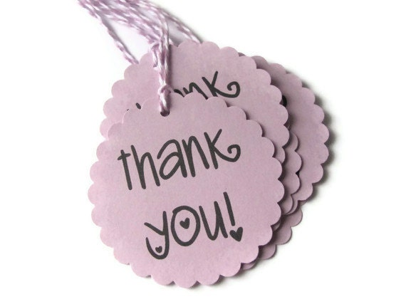 """PIF LISTING - Set of 5 Orchid Thank You Tags with Baker's Twine - Scalloped Circles - 2.5"""" size"""