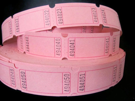 Bubblegum Pink Carnival Tickets - 2 Dozen - 24 Blank Tickets - Valentine's Day - DIY Tags - Cupcake Toppers