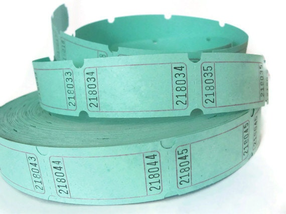Mint Green Carnival Tickets - PIF LISTING - 2 Dozen - 24 Blank Tickets - DIY Tags - Cupcake Toppers - Light Pastel Green