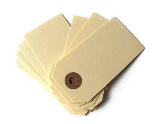 "50 Medium Manila Shipping / Parcel Tags - Heavy 13 pt Cardstock - Classic - Blank - 3 1/4"" x 1 5/8"" - Plain - 3.25"" - Cream - Ivory"