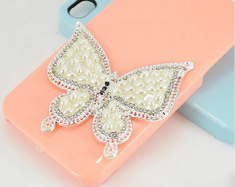 1PCS Silver Pearl Butterfly Flatback Alloy jewelry Accessories materials supplies
