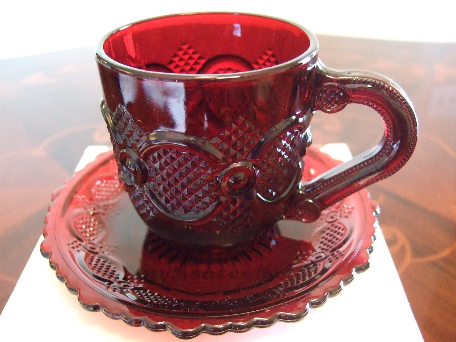 Avon 1876 Cape Cod Ruby Red Glassware Cup And Saucer Set