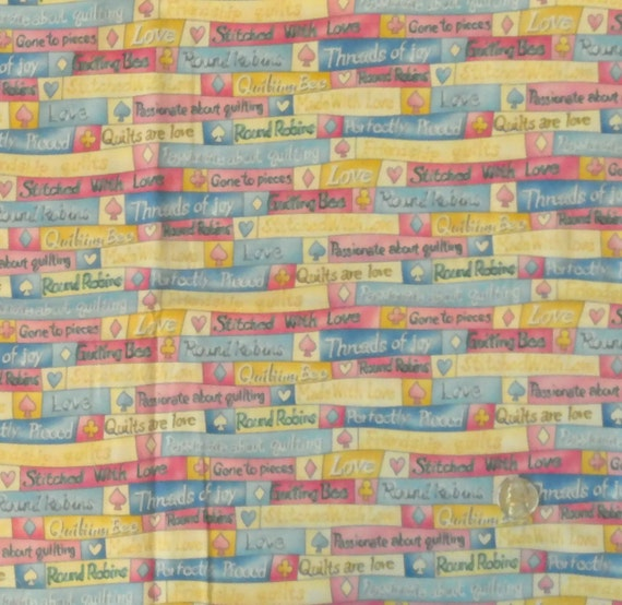 DESTASH 100% Cotton Fabric Quilting Phrases, Coordinating Pink, 2 pieces Totaling 1 1/4 Yards