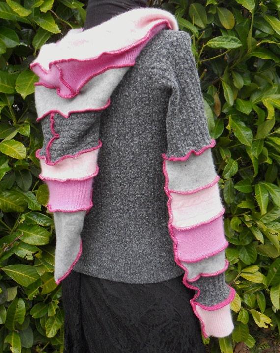 Upcycled Hoodie Pink Grey