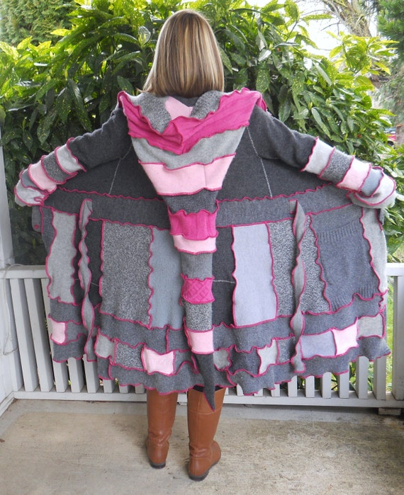 Sweet Pink and Grey Upcycled Sweater Coat