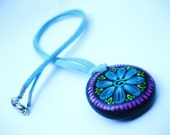 Mini Blue Flower Mandala Pendant on Blue Suede Cord