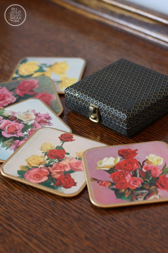 Set of Vintage WIN-EL-WARE Coasters, Shabby Chic Roses