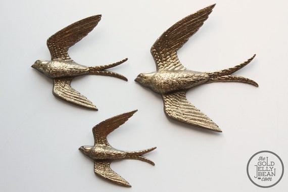 Vintage Gold Bird Wall Decor, Burwood Product Gold Birds Set