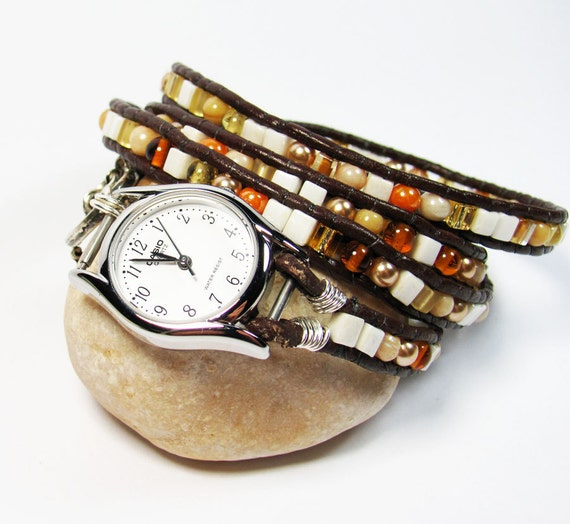 Woman's Leather wrapped watch bracelet white pearl glass beads