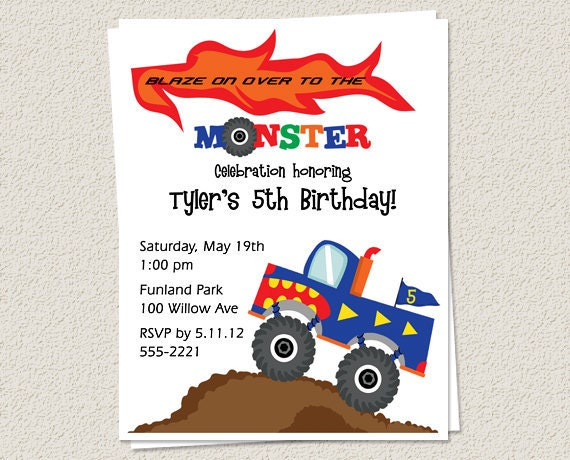 10 Birthday Party Invitations Monster Truck Boy Printed