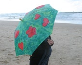 "Umbrella parasol "" Love.Saint Valentines Day .The love story""romance,amorousness,red,green"