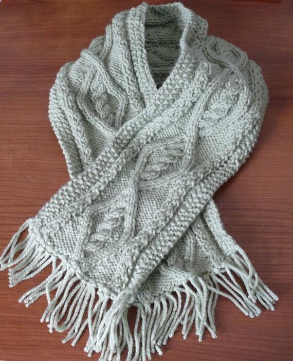 Hand knitted Aran pattern childrens scarf  sage green CWW Knit Children's Scarf Patterns