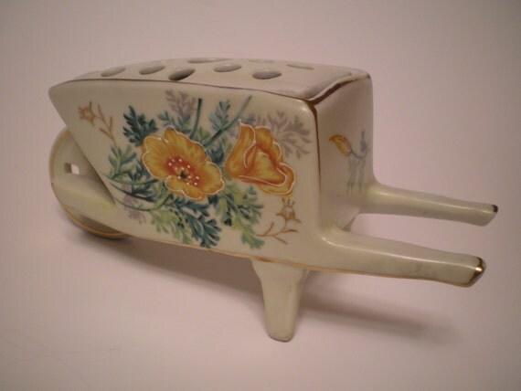 Ceramic Porcelain Wheelbarrow with Flower Frog Yellow Orange Flowers Gold Trim