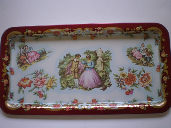 Daher Decorated Ware Metal Serving Tray England Victorian Couple Burgundy