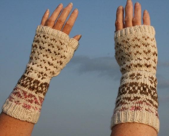 Fair Isle Fingerless Mitts - Full Thumb