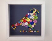 Multi-Coloured, Framed, Button Bird Picture