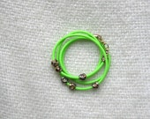 Neon Green and Gold Bead Wrap Bracelet