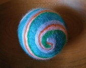 Swirled Wet and Needle Felted Wool Ball