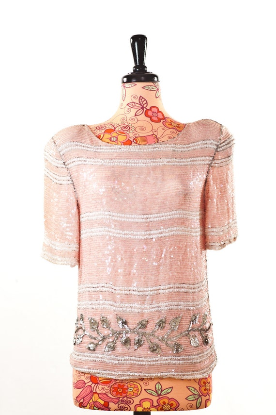 Such A Lady Silk Beaded Pink White And Sliver Top