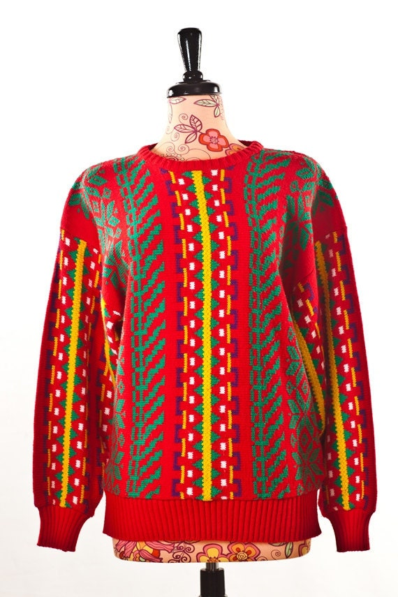 Where To Start Red Sweater /// Colorful Red Printed Sweater