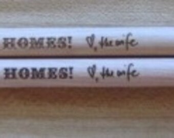 Pair of Custom Etched and Personalized Drumsticks