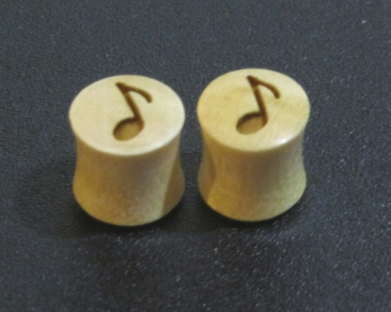 "Handmade Organic Wood Ear Plugs with Music Notes - You Choose Wood Color and You Size from 7/16"" - 30mm - Brand New"