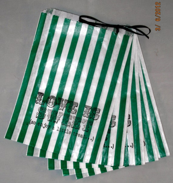 50 Green and White Stripe 'Love is Sweet, So enjoy a little treat...'wedding candy buffet bags/sweetie - Contact me for other quantities