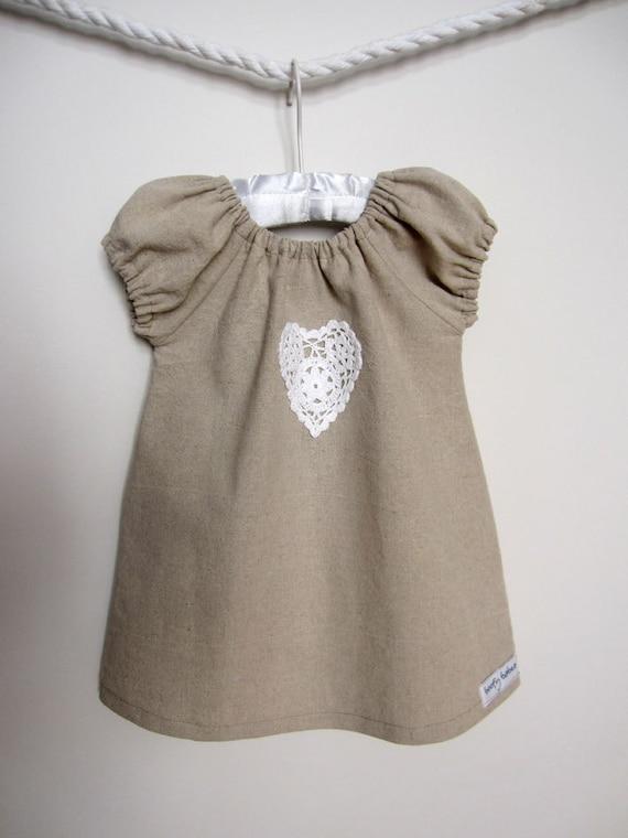 Linen Charli Dress with Crochet Heart (3-6mths through to 6T)