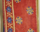 Vibrant Vintage Sari Quilt - Kantha Quilt - Indian Quilt