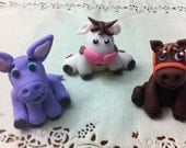 costume order for GINGER edible/fondant Farm Animals cake topper set of 5