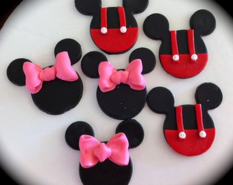 edible/fondant Mini or Mickey Mouse cupcake topper set of 12