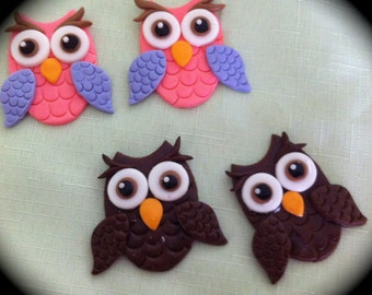 edible/fondant Owl cupcake topper set of 6