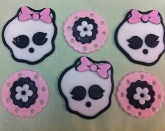 edible/fondant Monster High inspired cupcake topper set of 12