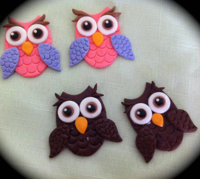 edible/fondant Owl cupcake topper set of 6
