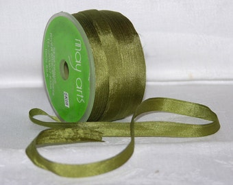Moss Silk Ribbon, 2 yards - 1/4 inch wide