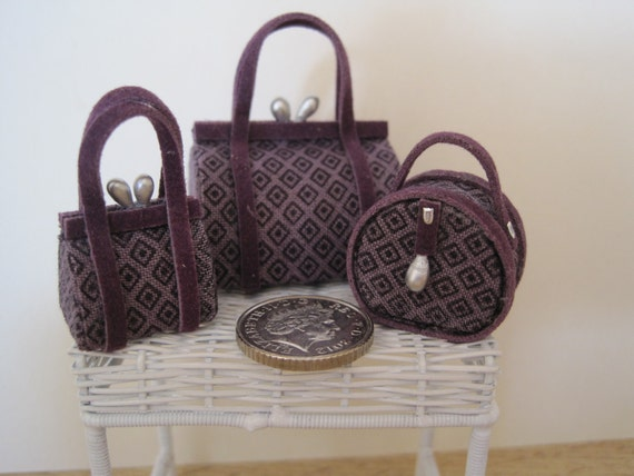 12th Scale (Dollshouse) 3 Piece Ladies Luggage Set in Purple