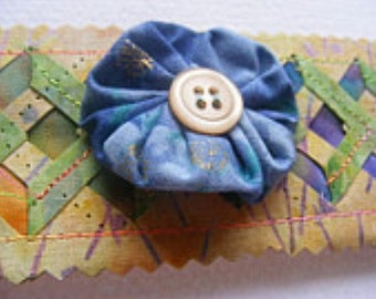 Soft Jewelry Slap Bracelet Cuff garden gate series with blue yoyo focal