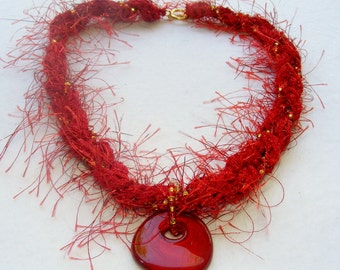Soft Jewelry Vibrant Cherry Red knitted and beaded necklace