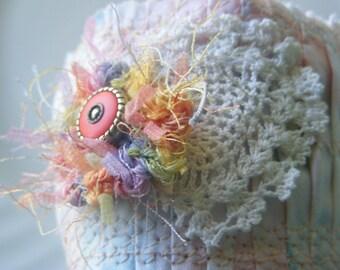 Soft Jewelry Pleated Fabric Cuff mixed media pastel design