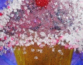 pretty please with a cherry on top -- glitter cupcake art -- original painting -- FREE SHIPPING with any other item