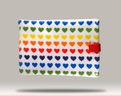 Rainbow Hearts iPad Tablet  Sleeve/ Case