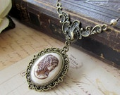 Cameo Lady Necklace, Vintage Inspired Lady Cameo Necklace, Antique Brass Cameo Necklace