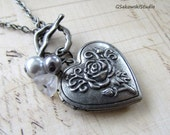 Matte Antique Silver Heart Locket Necklace, White Rose Photo Locket Necklace