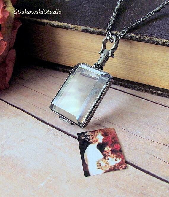 Antique Silver Beveled Glass  Locket,  Vintage Silver Rectangle Locket