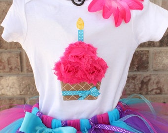COTTON CANDY--Birthday Cupcake Bodysuit or Shirt Only, sizes Newborn-5T
