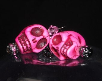 Pink Dyed Magnesite Skull Earrings with Swarovski Crystals and Gunmetal Chain and Earwires