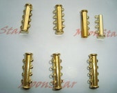 2 Sets Gold Plated Slide Magnetic Clasps With 4 Loops Jewelry Making Supplies - Connector